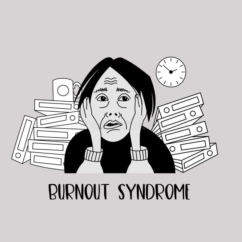zdrowie mentalne Burnout syndrom Zaburzenia psychiczne Wektorowy illustr ilustracja wektor