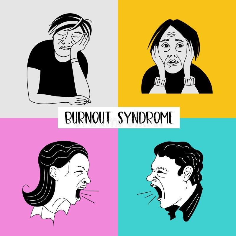 zdrowie mentalne Burnout syndrom Zaburzenia psychiczne Wektorowy illustr ilustracji