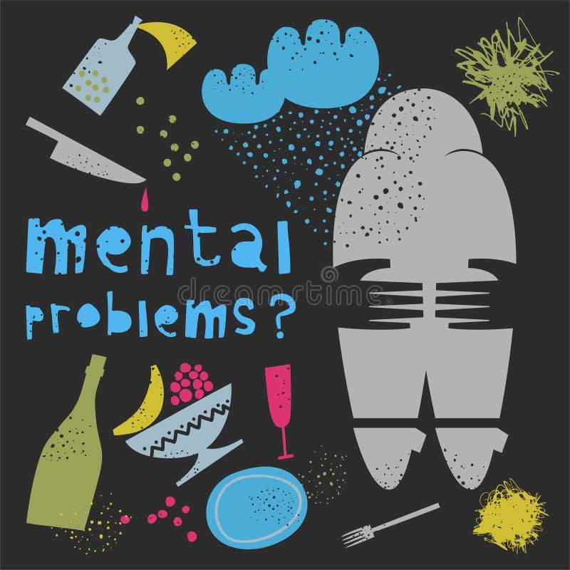 zdrowie mentalne również zwrócić corel ilustracji wektora ilustracji