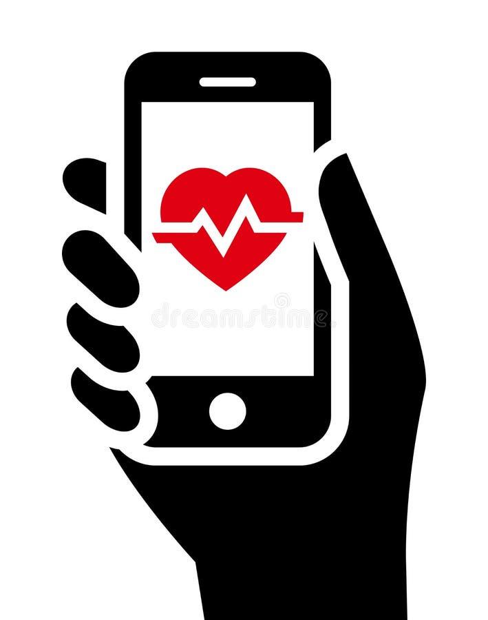 Zdrowie narzędzia w smartphone royalty ilustracja