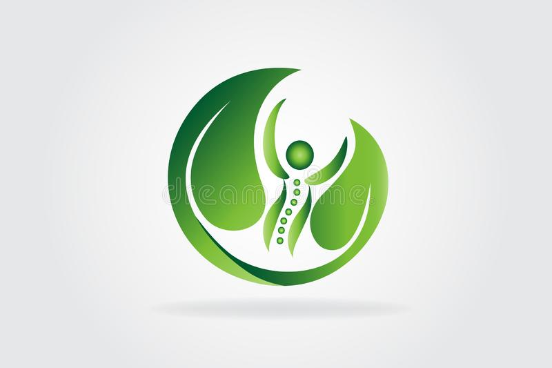Zdrowie natury kręgosłupa opieki ikony logo ilustracji