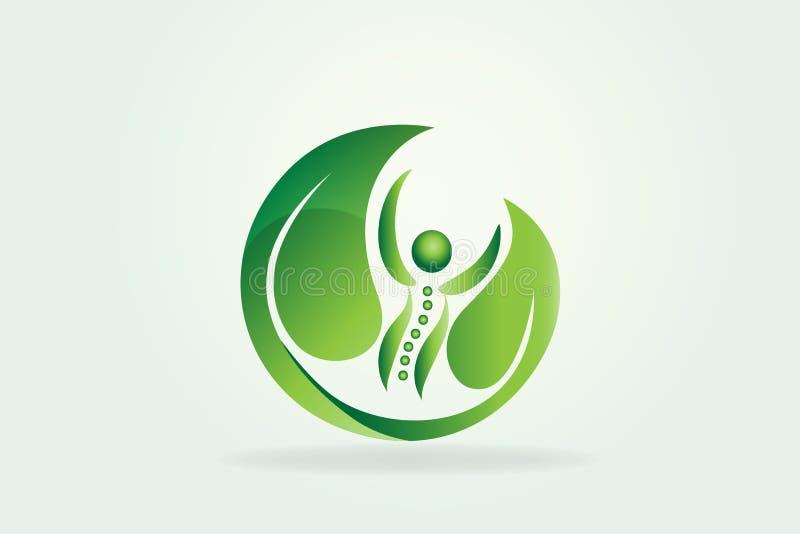 Zdrowie natury kręgosłupa opieki ikony logo ilustracja wektor