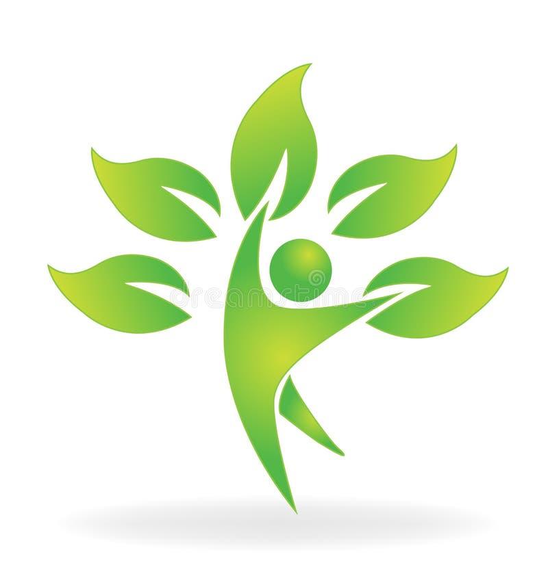 Zdrowie natury postaci drzewnej opieki loga wektorowa ikona ilustracja wektor