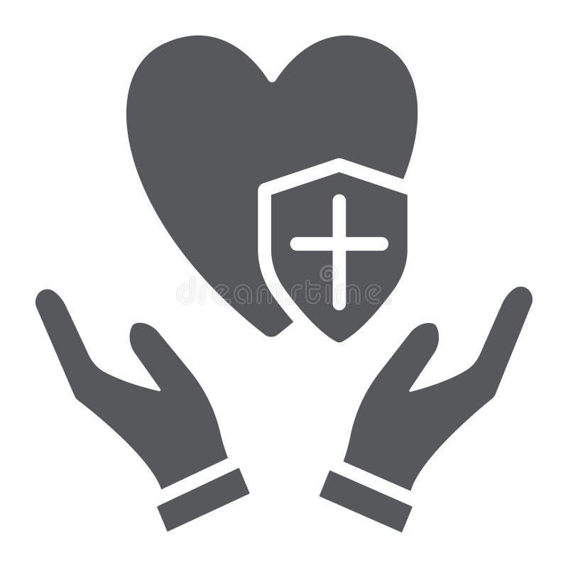 Zdrowie ochrony glifu ikona i ochrona, medyczny, zdrowie zbawczy znak, wektorowe grafika, bry?a wz?r na bielu royalty ilustracja