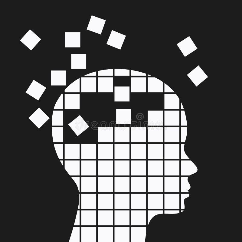 Zdrowie psychiczne i pamięci strata, neurologiczni problemy ilustracji
