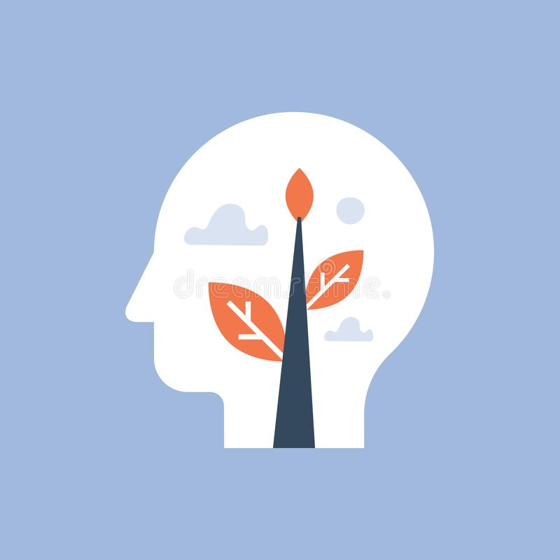 Zdrowie psychiczne, jaźń przyrost, potencjalny rozwój, pozytywny mindset, pojęcie, szacunek i zaufanie, mindfulness i medytaci, ilustracji