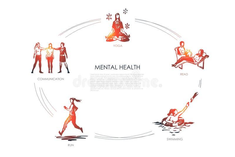 Zdrowie psychiczne - komunikacja, joga, czyta, pływający, bieg pojęcia wektorowy set ilustracji