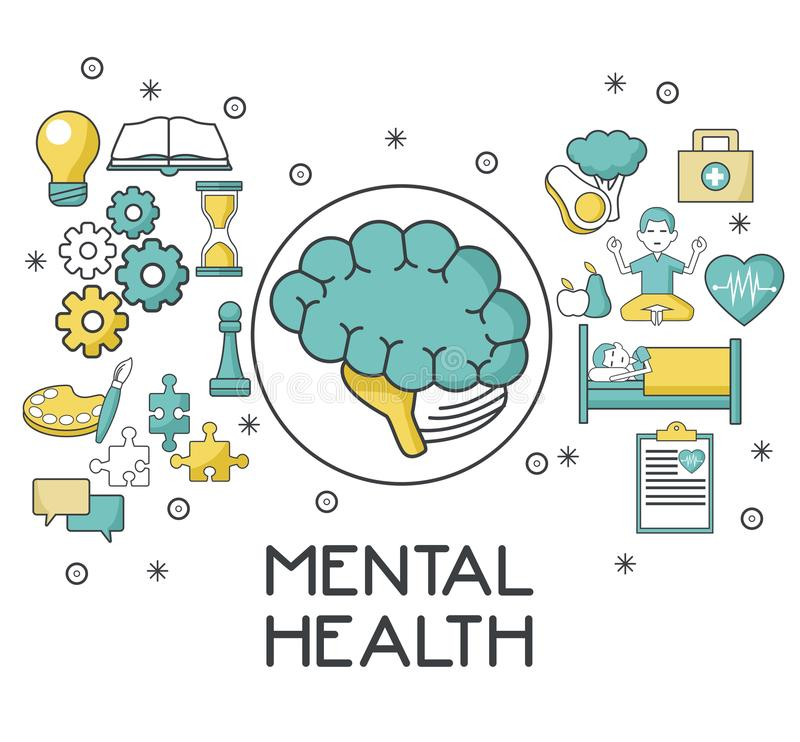 Zdrowie psychiczne projekt ilustracji