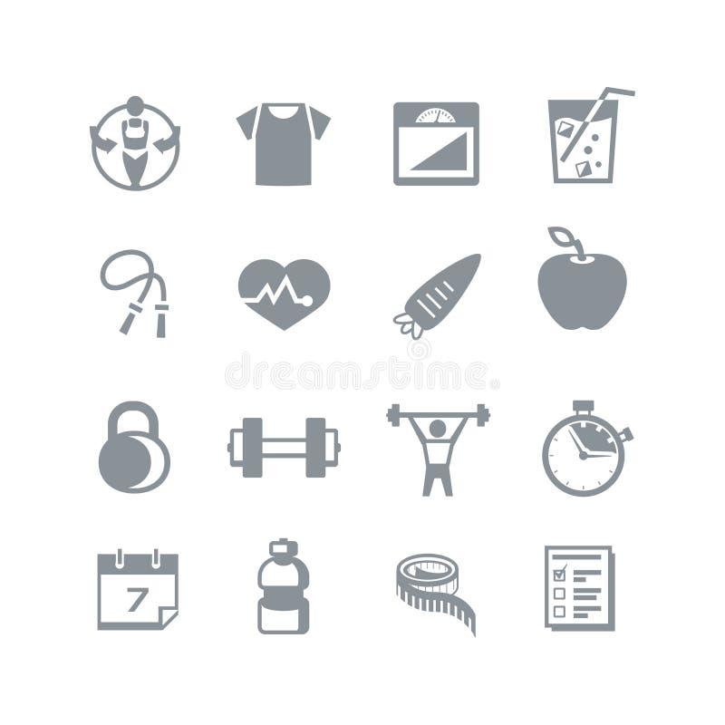 Zdrowie & sprawności fizycznej ikony ilustracji