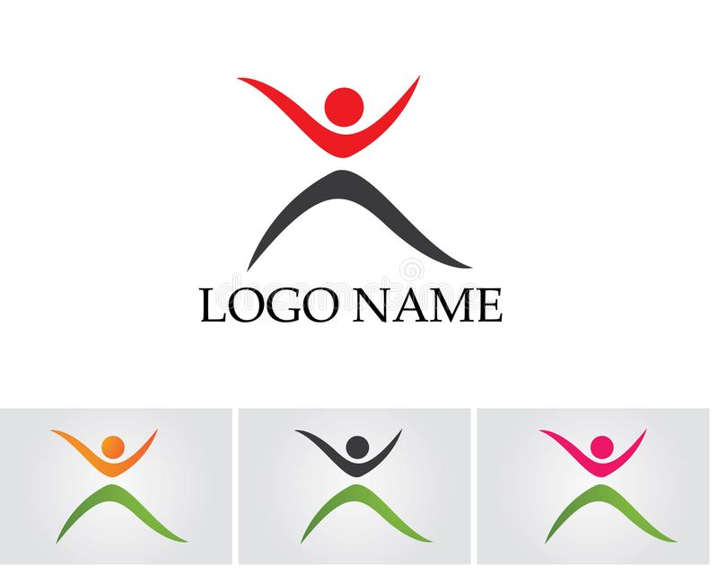 Zdrowie sukcesu ludzie dbają loga i symboli/lów szablon fotografia stock