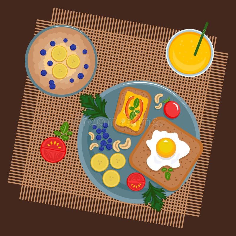 Zdrowy śniadanie z kanapkami ilustracja wektor
