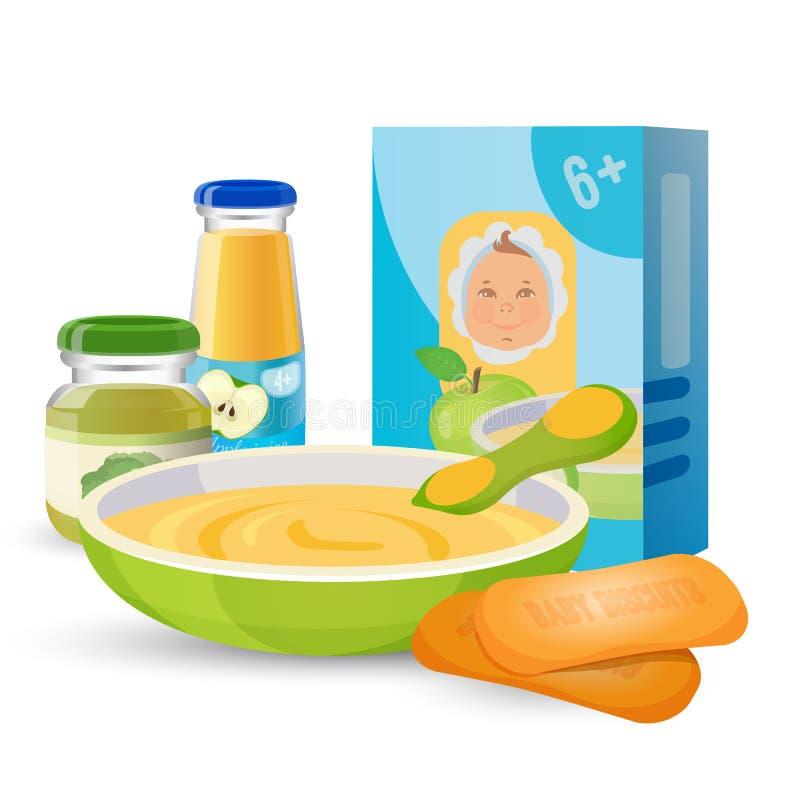 Zdrowy śniadanie dla dziecka z owsianką i ciastkami ilustracji