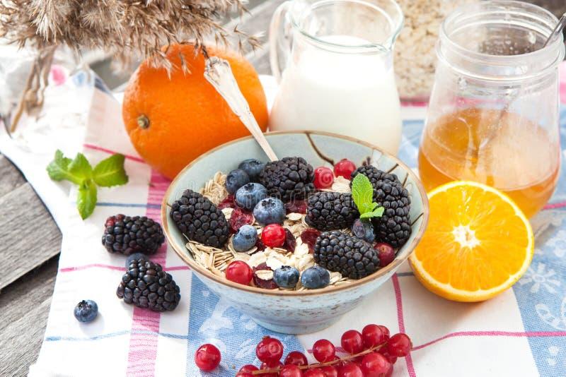 Zdrowy śniadanie z granola i jagodami zdjęcie royalty free