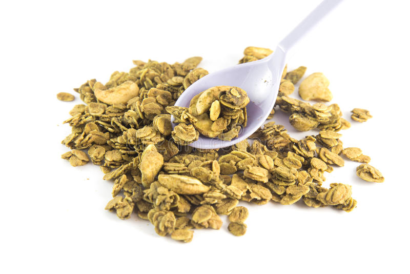 Zdrowy śniadaniowy Świeży granola, Organicznie owies, migdał i słonecznikowi ziarna, zdjęcie stock