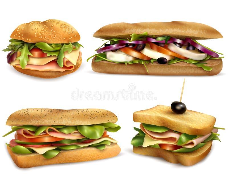 Zdrowy Świeży składnik Ściska Realistycznego set ilustracja wektor