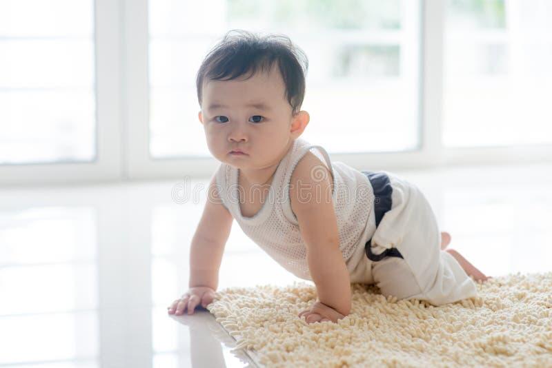 Zdrowy chłopiec czołganie na dywanie fotografia royalty free