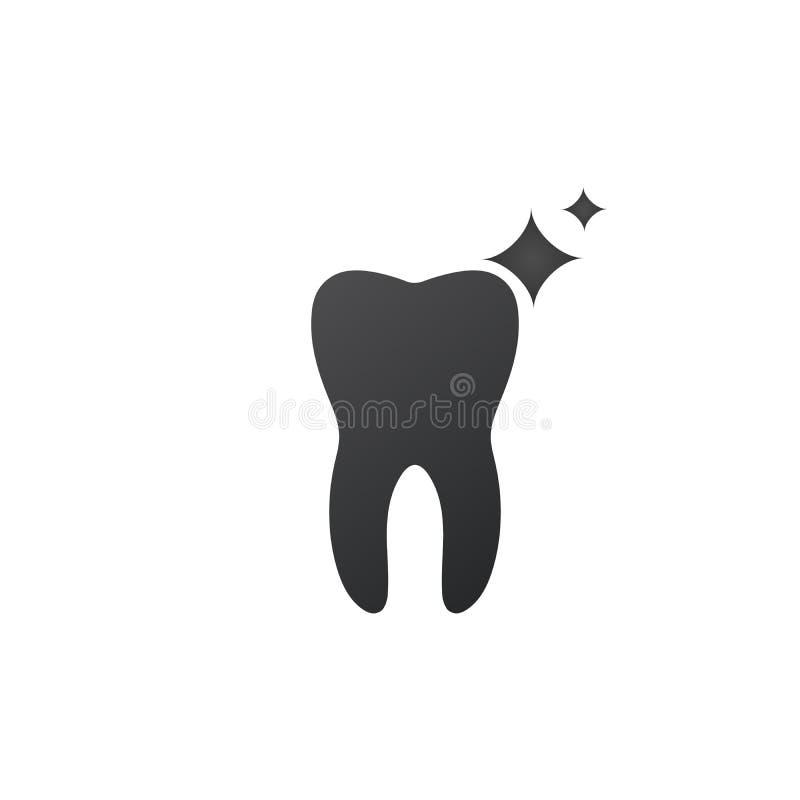 Zdrowy czysty ząb z rozjarzonym gwiazdowym skutkiem, zęby bieleje pojęcie Wektorowa ilustracja odizolowywaj?ca na bia?y tle ilustracja wektor