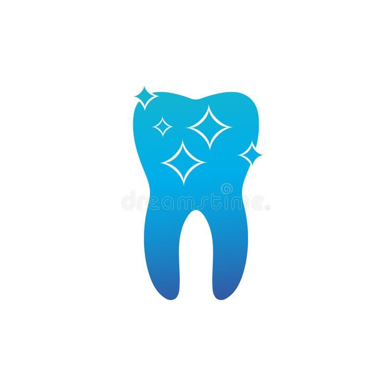 Zdrowy czysty ząb z rozjarzonym skutkiem, zęby bieleje pojęcie Wektorowa ilustracja odizolowywaj?ca na bia?y tle ilustracja wektor