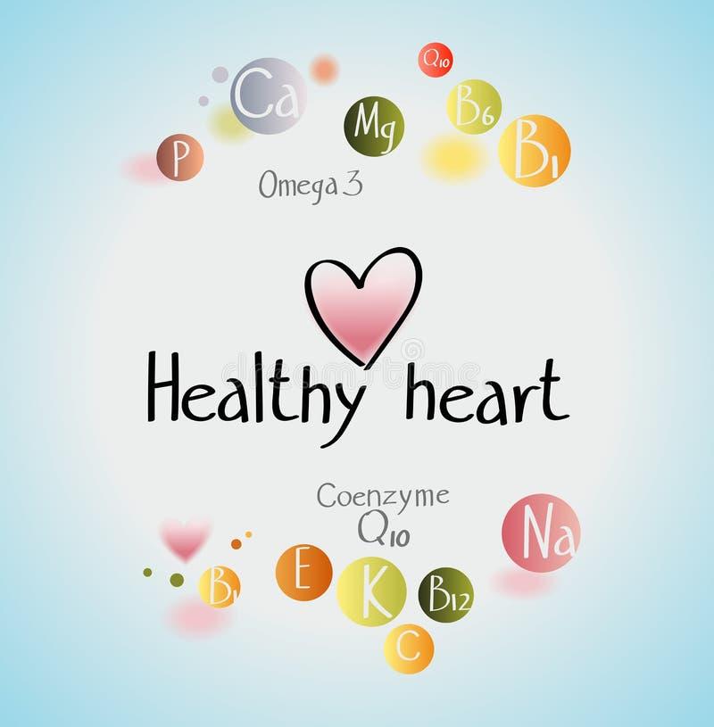 Zdrowy heart/A zdrowy serce jest istotnymi śladów elementów kopalinami i witaminami royalty ilustracja