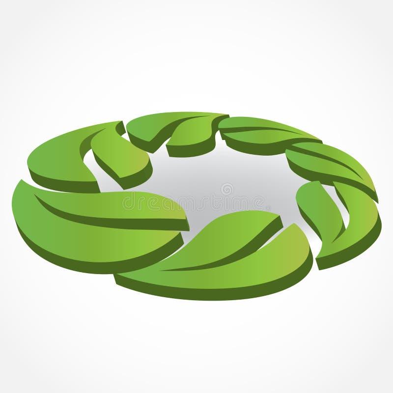 Zdrowy i natura liści id karty biznesowego loga wektorowy 3d wizerunek ilustracja wektor