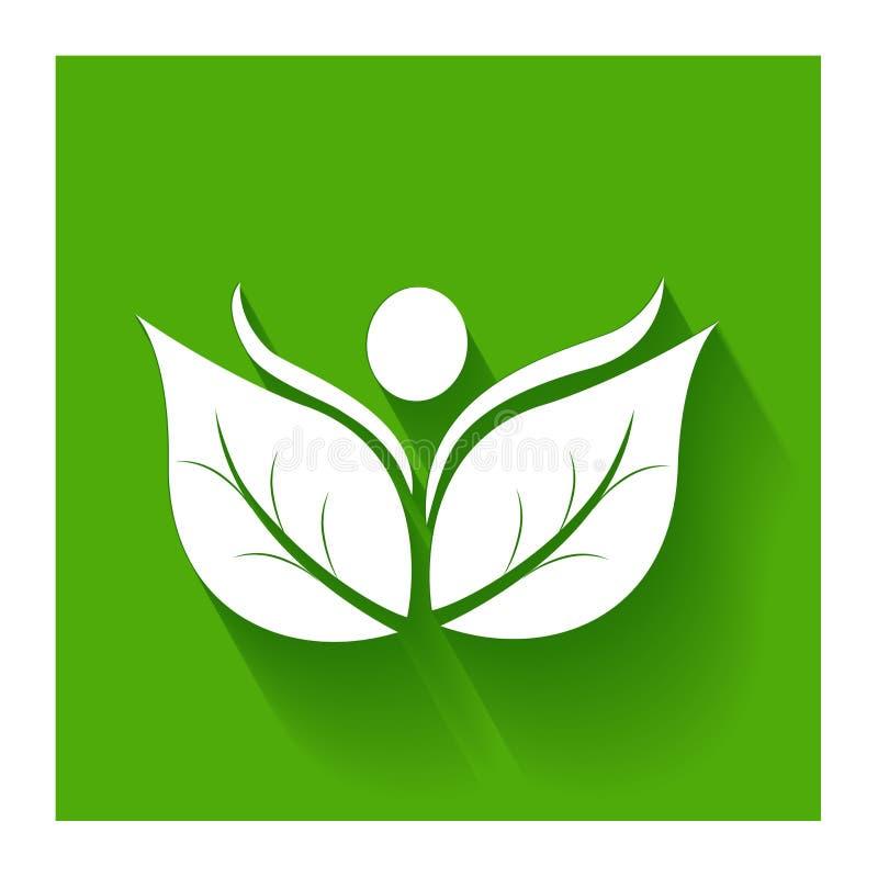 Zdrowy i naturo leafs płaska ikona na zielonym logu royalty ilustracja