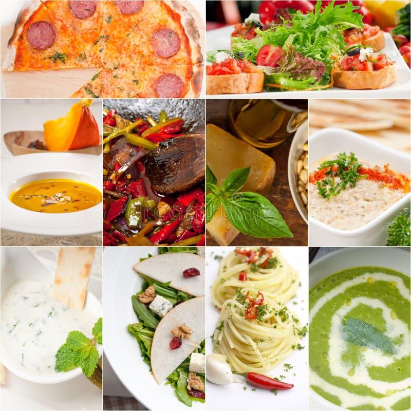 Zdrowy i smakowity Włoski karmowy kolaż fotografia royalty free