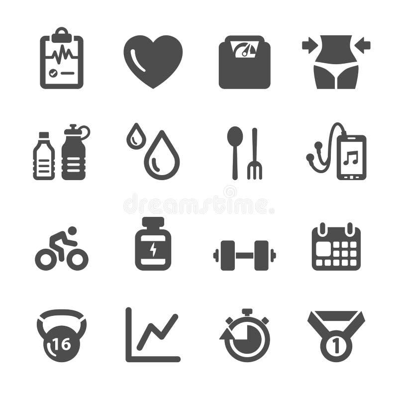 Zdrowy i sprawność fizyczna ikony set, wektor eps10 royalty ilustracja