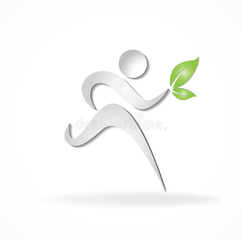 Zdrowy i szczęśliwy biegacz z zieleń liści ikony symbolu id karty biznesu wektorowym logem ilustracja wektor