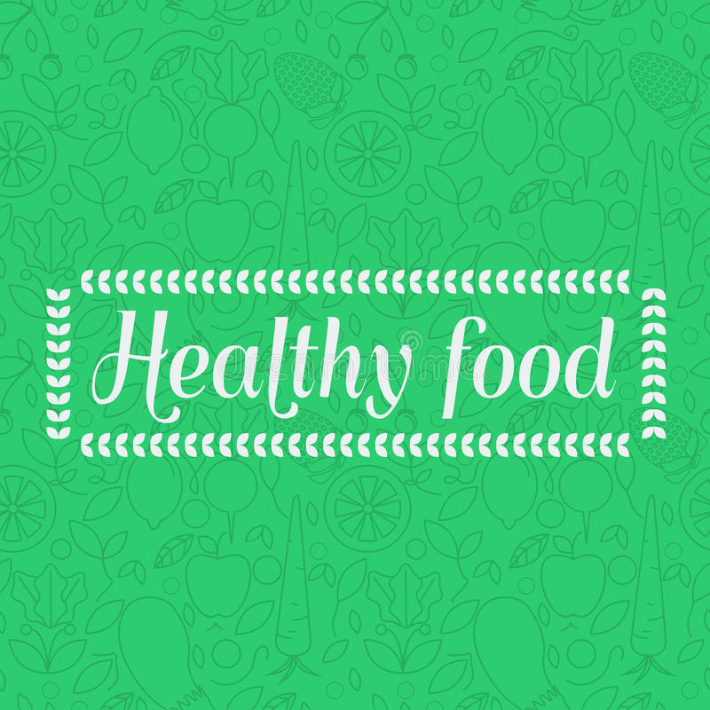 Zdrowy jedzenie - bezszwowy deseniowy tło z owocowymi liniowymi ikonami ilustracji