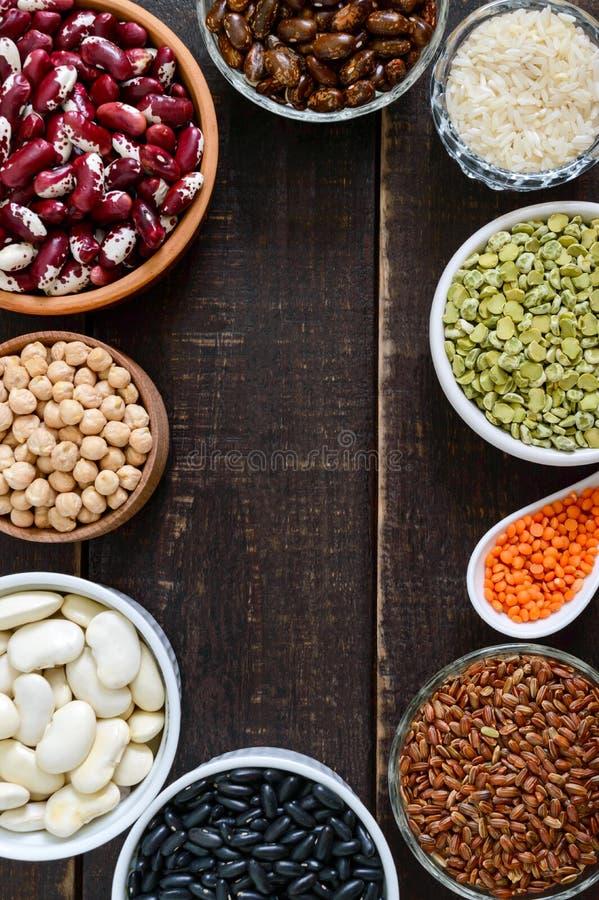 Zdrowy jedzenie, dieting, odżywiania pojęcie, weganin proteina i węglowodanu źródło, obrazy royalty free