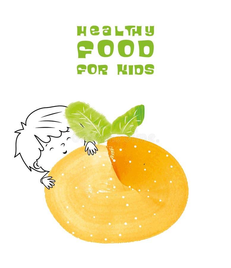 Zdrowy jedzenie dla dzieciaka wektoru ilustraci ilustracji