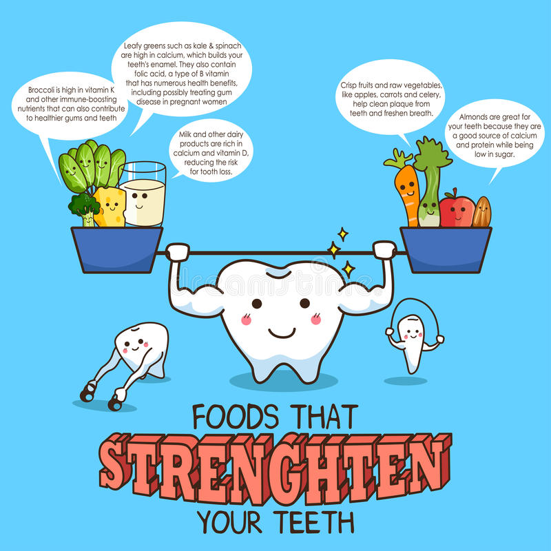 Zdrowy jedzenie dla zębów ilustracja wektor