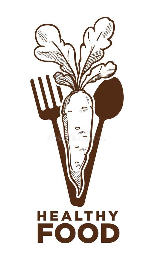 Zdrowy jedzenie, dojrzała marchewka i cutlery monochromatyczny nakreślenie, ilustracji