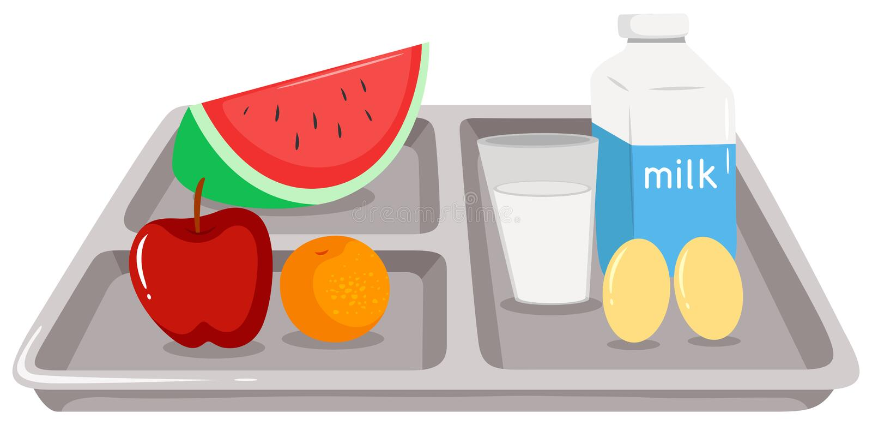Zdrowy jedzenie na tacy royalty ilustracja