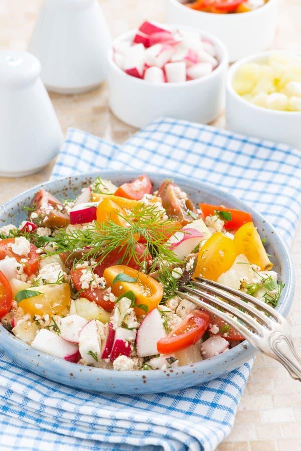Zdrowy jedzenie - sałatka z świeżymi warzywami i chałupa serem obraz stock