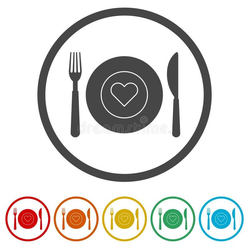 Zdrowy jedzenie talerz, Karmowego łomotanie kuchennego menu restauracyjna ikona, 6 kolorów Zawierać ilustracja wektor