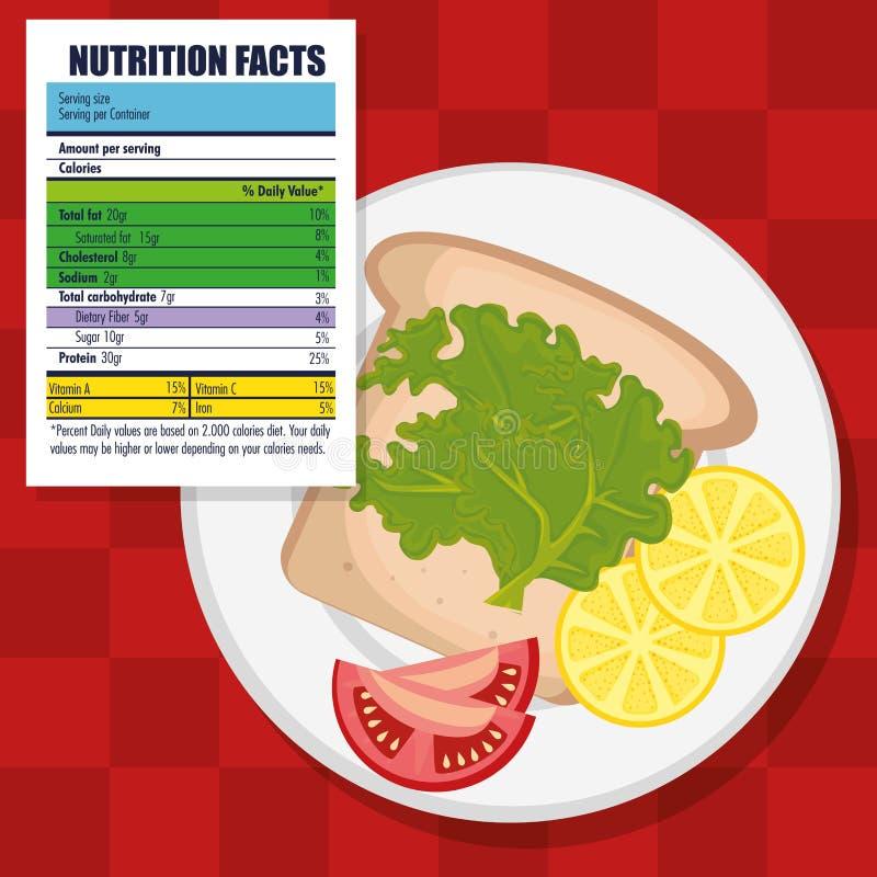 Zdrowy jedzenie z odżywczymi fact royalty ilustracja