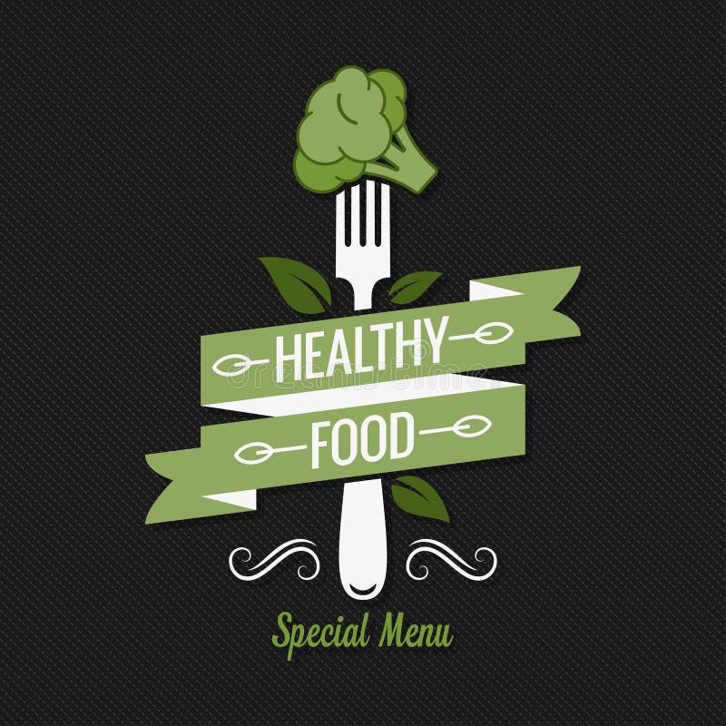 Zdrowy karmowy menu Rozwidlenie z brokułu logem na czarnym tle ilustracji