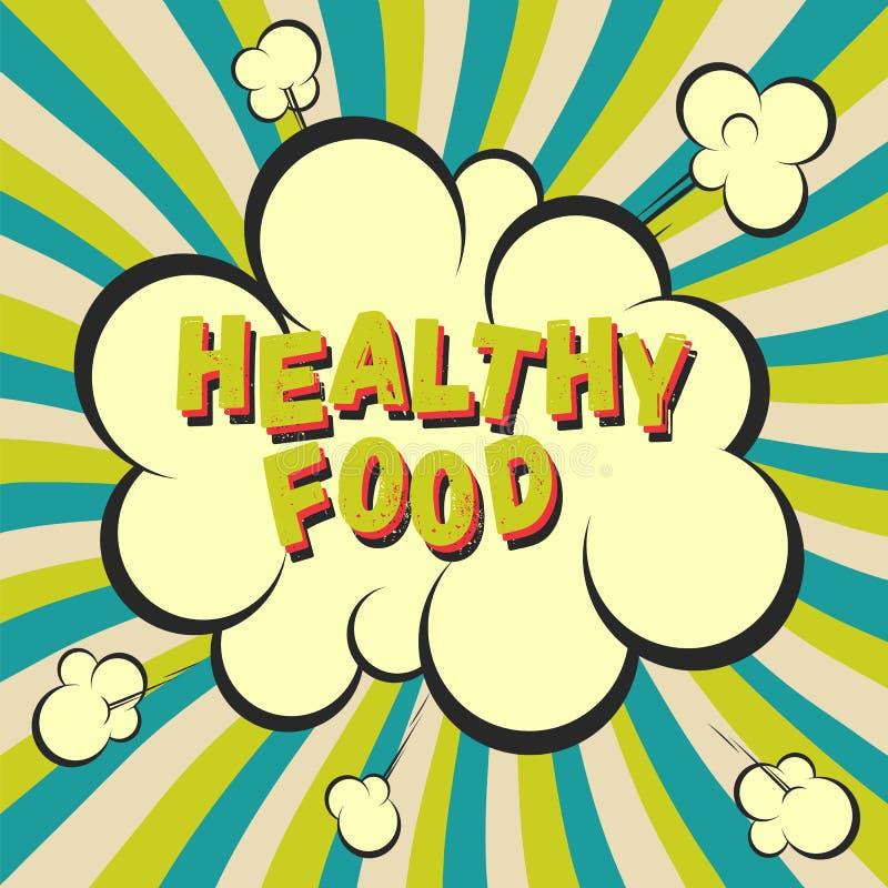 Zdrowy karmowy retro stylowy wizerunek Komiczny kreskówka wybuch z hypno promieni tłem Wektorowa ilustracja dla diety i odżywiani royalty ilustracja