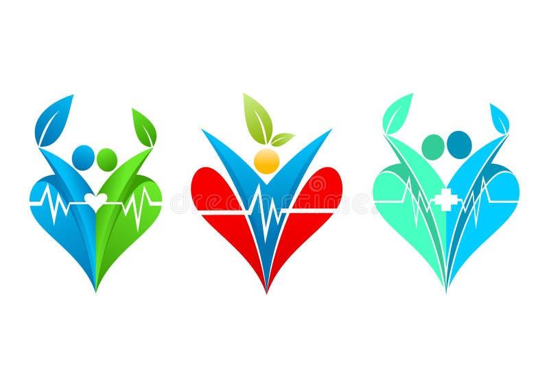 Zdrowy kierowy logo, stylu życia wellness, rodzinna opieka zdrowotna, romantyczny liść, miłości ludzka klinika i ludzie healthful ilustracji