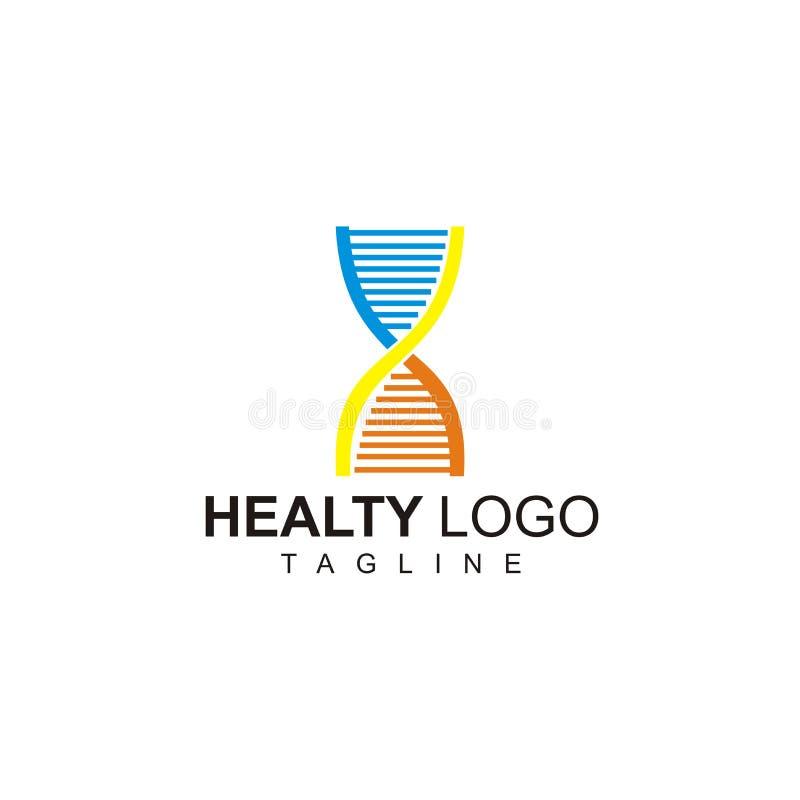 Zdrowy logo z DNA projektem gotowym używać ilustracji
