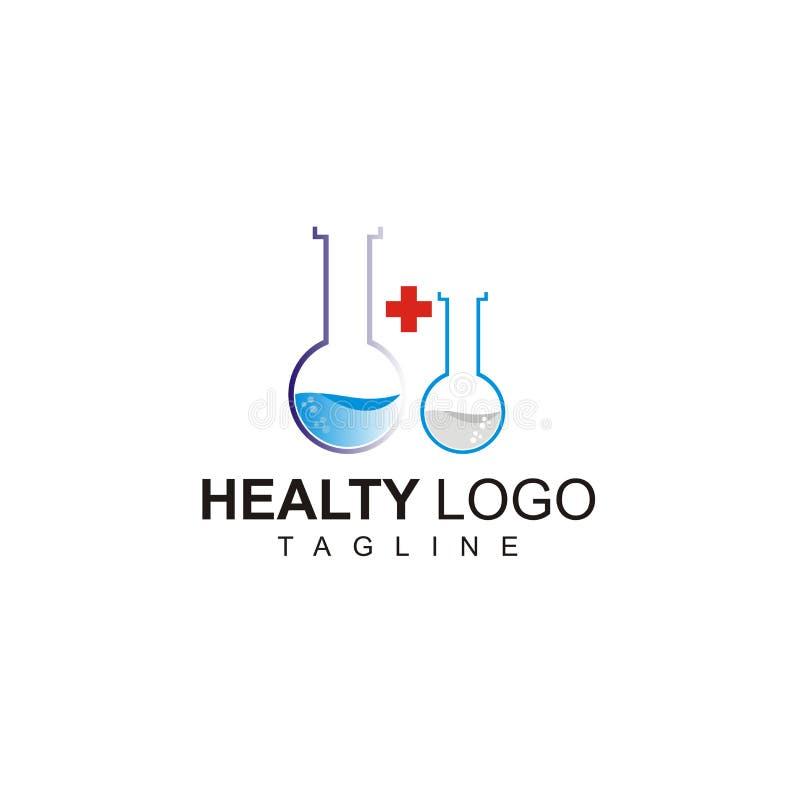 Zdrowy logo z dwoistą serum tubką royalty ilustracja