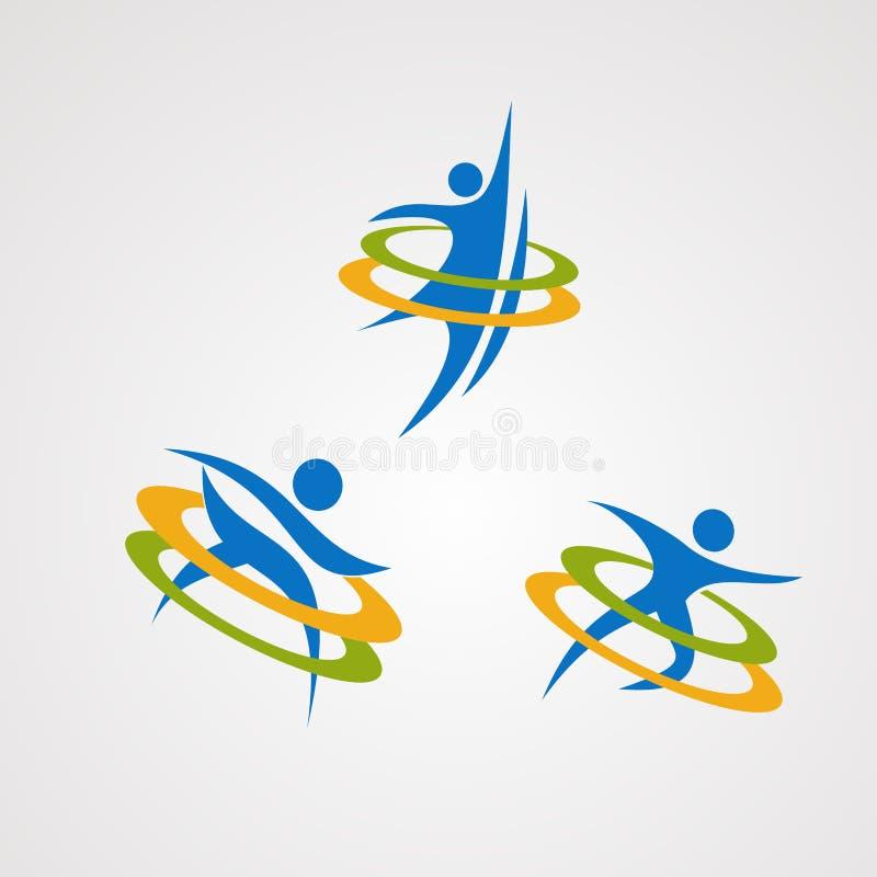 Zdrowy ludzki logo wektoru set, ikona, element i szablon dla firmy, ilustracja wektor