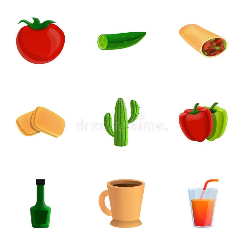 Zdrowy meksykański karmowy ikona set, kreskówka styl ilustracji