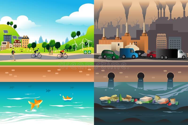Zdrowy miasto Versus Zanieczyszczający miasto ilustracja wektor