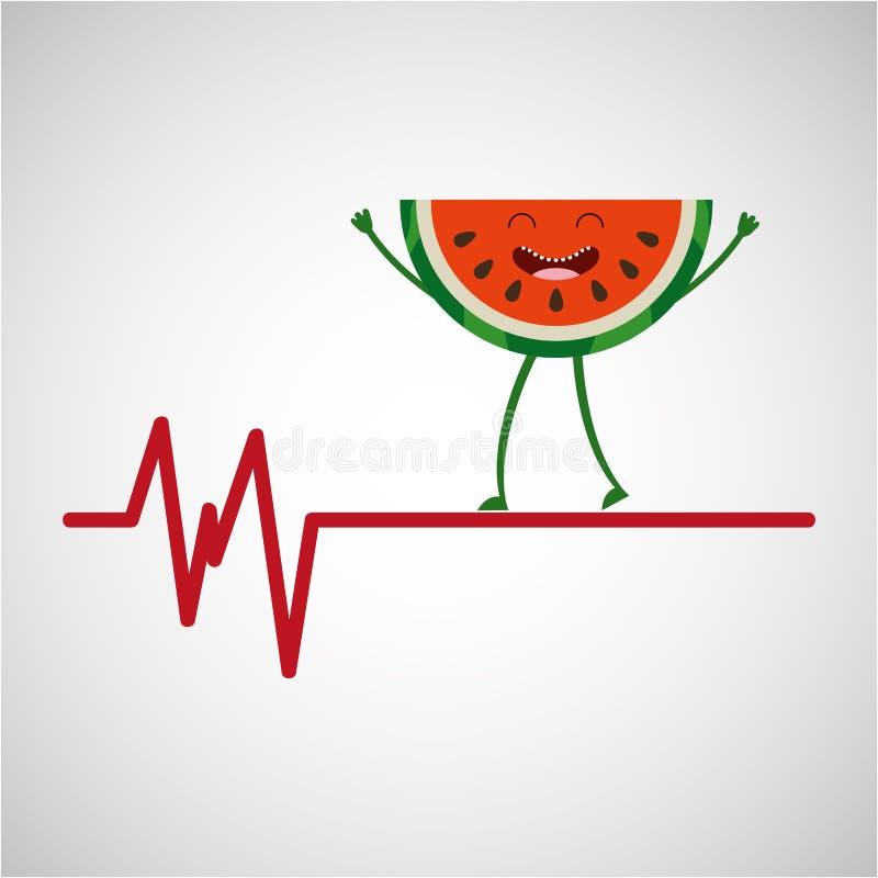 Zdrowy owocowy arbuz, heartrate ikony tło royalty ilustracja