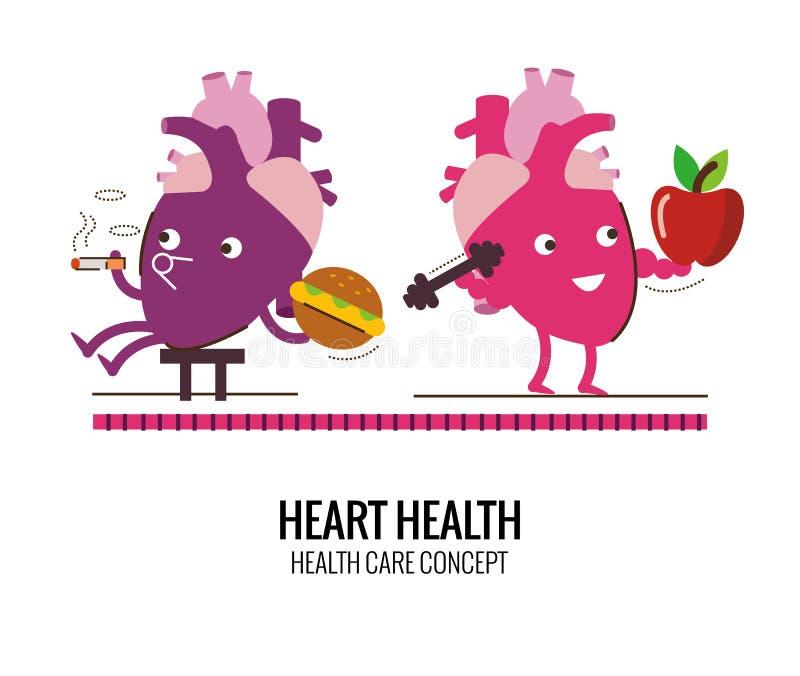 Zdrowy serce i niezdrowy kierowy charakter Niebezpieczeństwo dymić a ilustracji