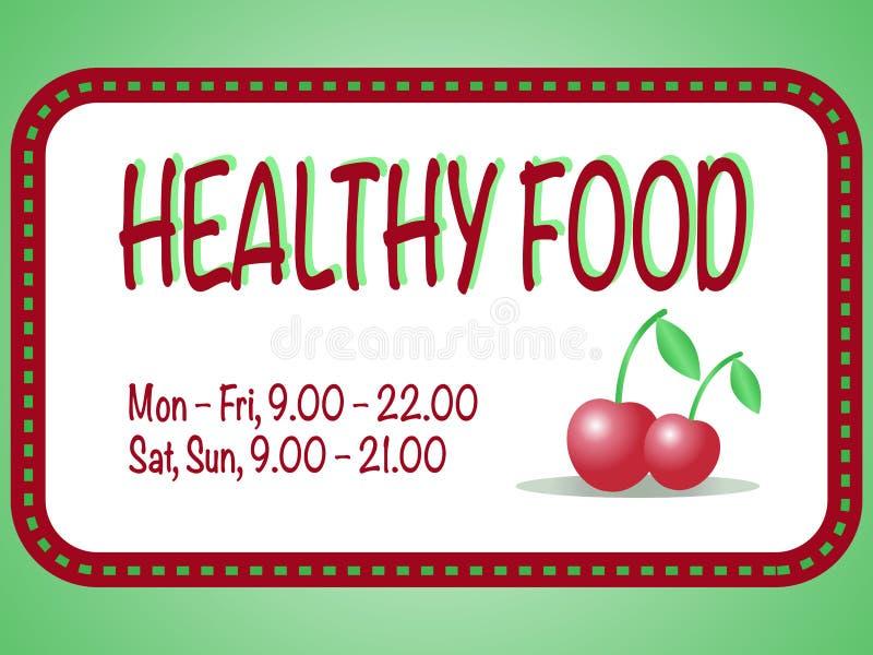 Zdrowy sklepu spożywczego znak Wektorowa ilustracja dwa czerwonej wiśni w obciosuje ramę z tekstem Para jagody ilustracji