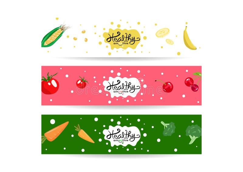Zdrowy smoothie chełbotanie, set sztandar etykietki równowagi diety inkasowy menu, kolorowi warzywa i owoc pojęcia tło, royalty ilustracja