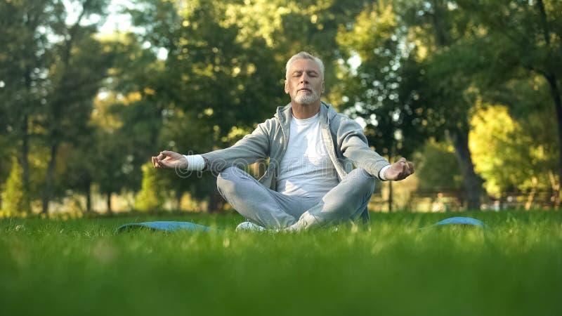 Zdrowy starszy m??czyzna medytuje w parku, siedz?ca lotosowa poza na joga macie, zen fotografia stock